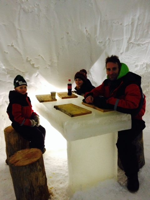 Dining inside an igloo at Lapland