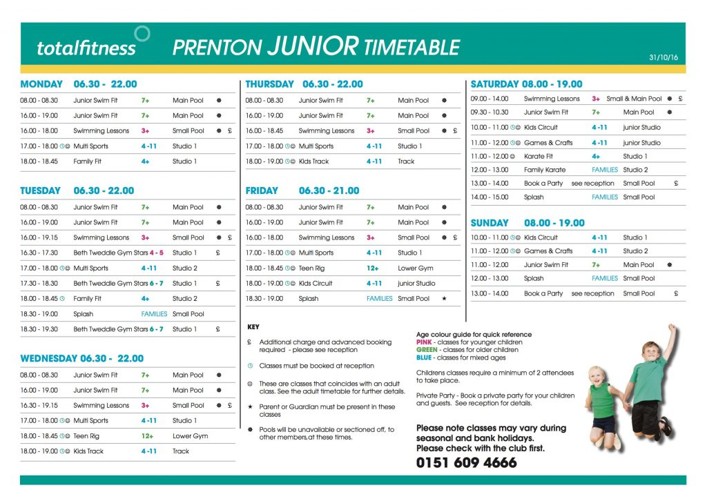 Total Fitness Kids Timetable www.minitravellers.co.uk