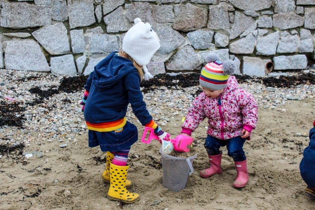 Playing on a beach in Cornwall in Winter - Christmas break in Cornwall