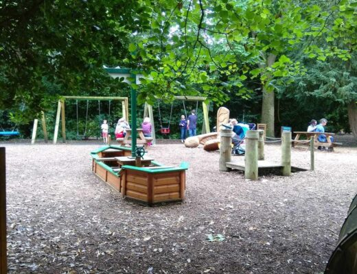 The play area at Beningbrough Hall, featured in my guide of National Trust days out with children in Yorkshire.