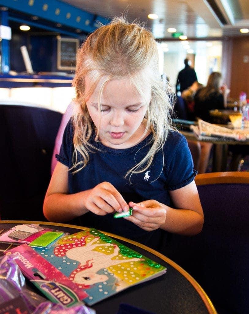 Playing with Craft Time Mosaics on a ferry trip to France