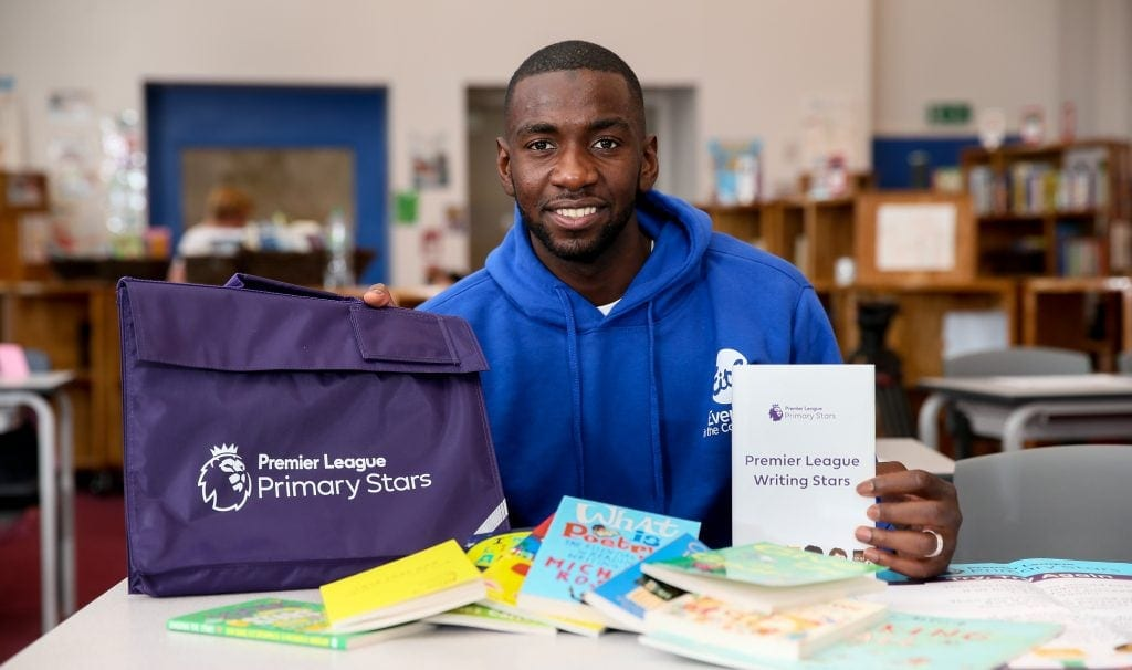 Premier League Primary Stars Writing Stars with Yannick Bolasie of EVERTON FC 27th September 2017