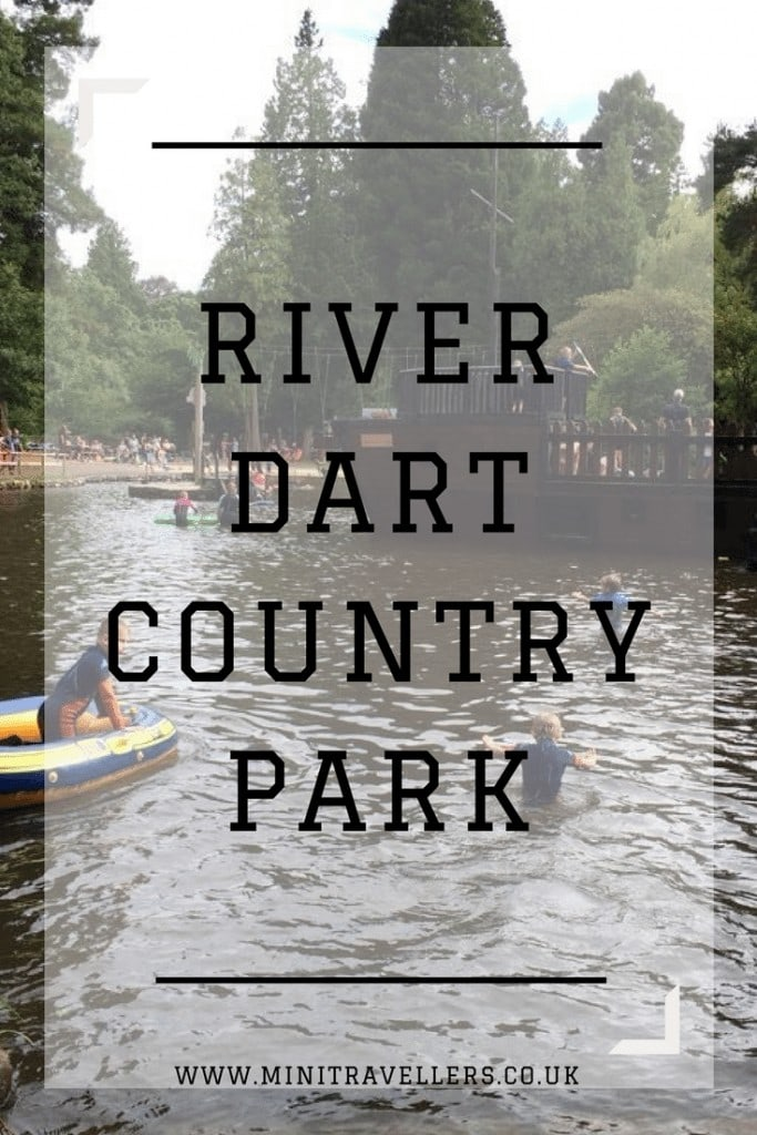 River with Boats and People words 'River Dart Country Park'