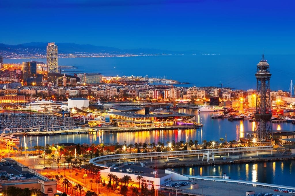 Port and cityspace of Barcelona in evening. Catalonia, Spain