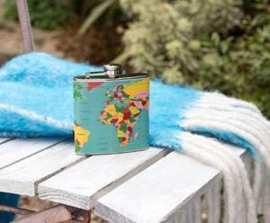 World map hip flask - as featured in my Christmas gift guide featuring gifts for travel lovers