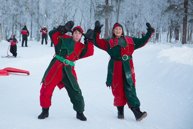 Elves at Santa's Lapland for Search for Santa Day