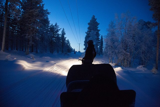 Onboard a sleigh in search of Santa at Santa's Lapland