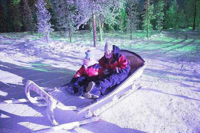 Reindeer ride at Santa's Lapland for Search for Santa Day