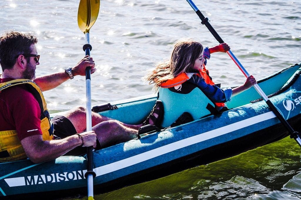 Family kayaking with the Sevylor Madison 2 People Inflatable Kayak