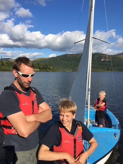 Onboard the sailing boat - learning to sail in the Lake District