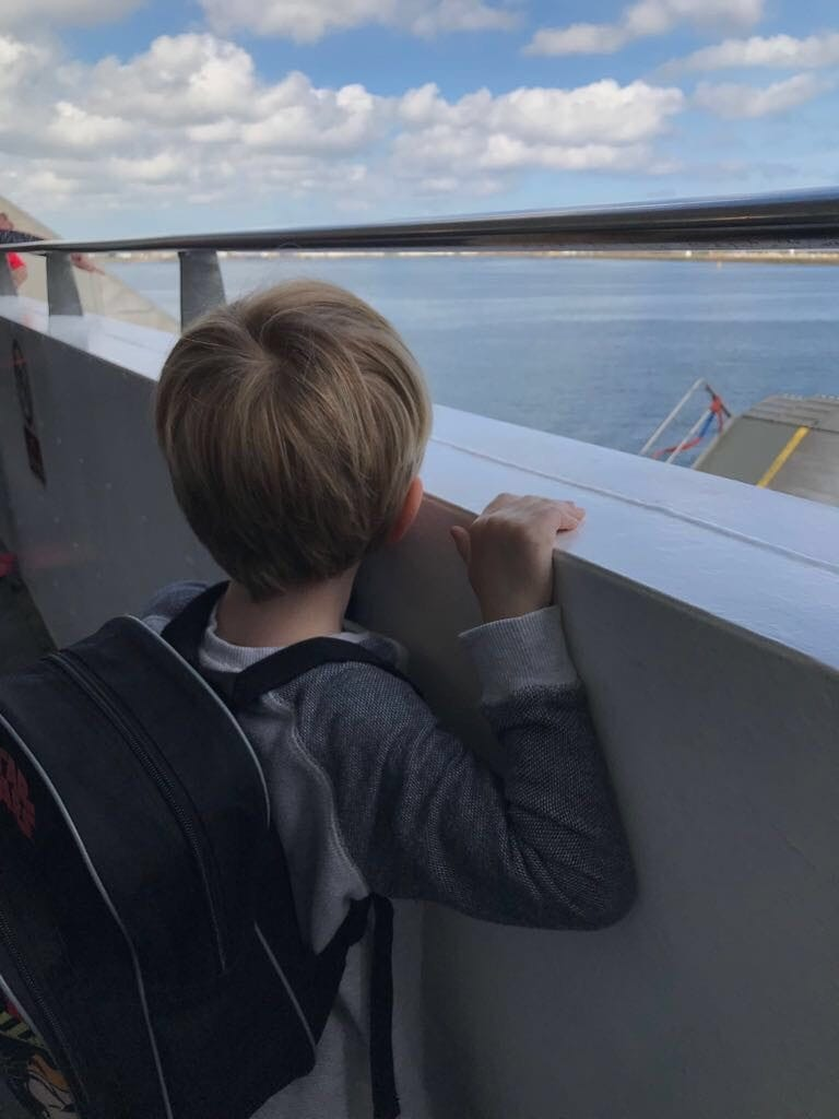 Admiring the view from Brittany Ferries from Portsmouth to Cherbourg, France