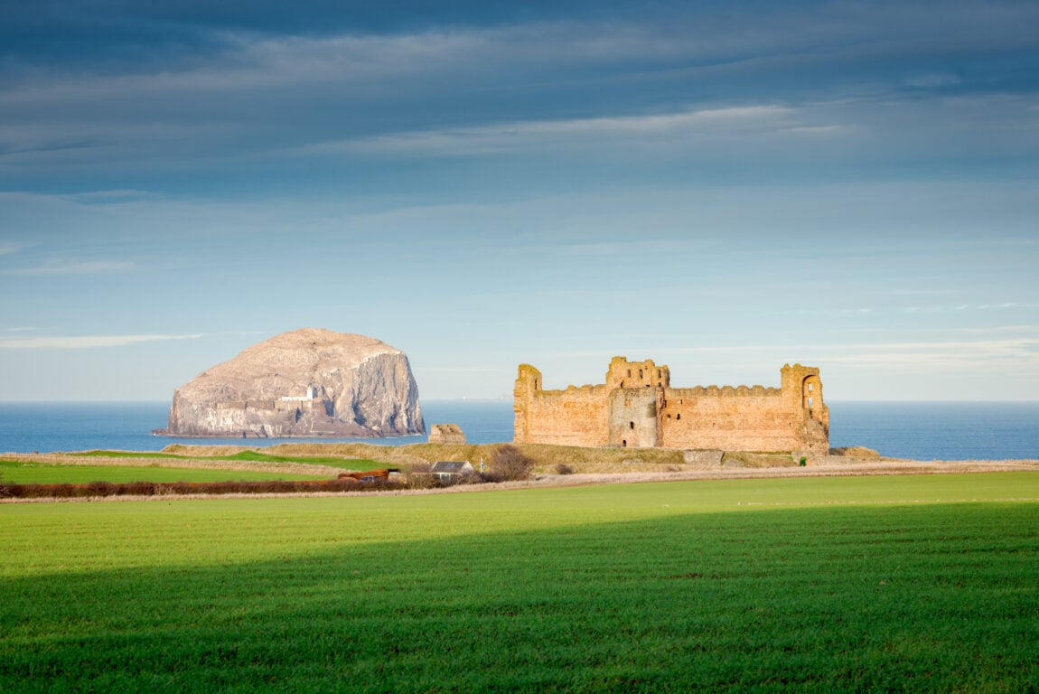 Tantallon Castle, East Lothian. Sunset. HDR images. Credit: Historic-Environment-Scotland-scaled
